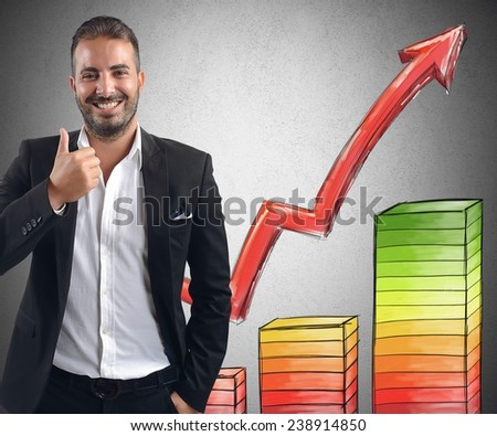Businessman smiling achieved profits for its investments - stock photo