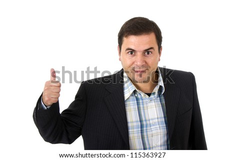 businessman smiling doing the ok sign over a white background