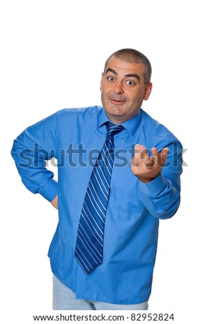 businessman smiling gestures blue shirt and tie, isolated on a white background - stock photo