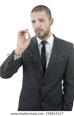 businessman smoking isolated on a white background