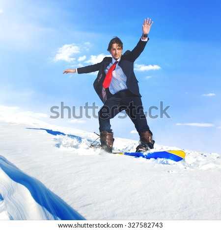 Businessman Snowboarding Sports Extreme Concept