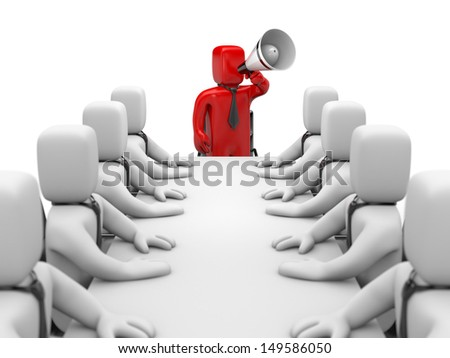 Businessman speaks in megaphone. Leadership - stock photo