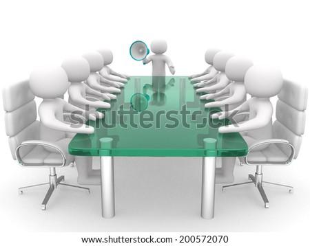 Businessman speaks in megaphone. Leadership - 3d render illustration - stock photo