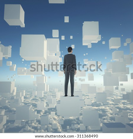 Businessman stand on cube above clouds  and  looking to the future. Concept for business and technology.