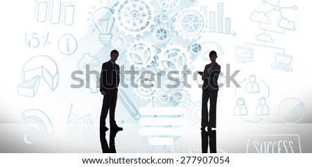 Businessman standing against white background with vignette - stock photo
