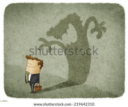 Businessman standing and casting shadow of an angry man - stock photo