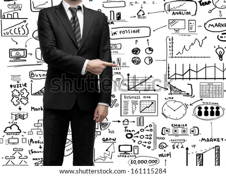 businessman standing and showing  finger to business concept