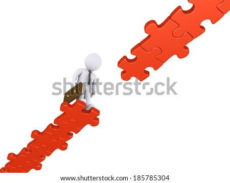 Businessman standing at the edge of a damaged puzzle path