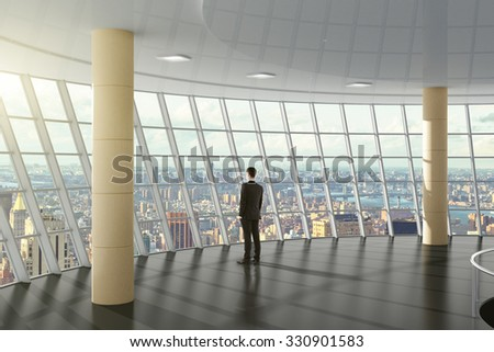 Businessman standing in a business center hall with city view 3D Render