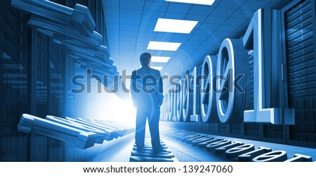 Businessman standing in data center with 3d binary code graphics - stock photo