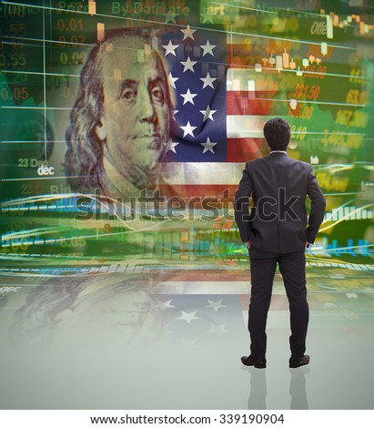 Businessman standing in front of america stock market ticker concept with face of benjamin franklin on USD (dollar) 100 bill - stock photo