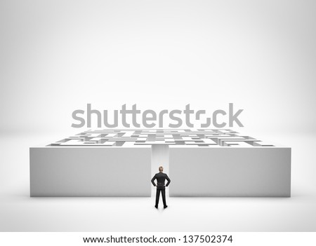 Businessman standing in front of the entrance to the maze - stock photo