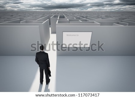 "Businessman standing in front of the entrance to the maze. Make a decision. Achieving the goal. With the sign ""Welcome"" on the wall. Wide angle."