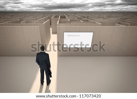 """Businessman standing in front of the entrance to the maze. Make a decision. Achieving the goal. With the sign """"Welcome"""" on the wall. Wide angle. Brown Blueprint. Sepia. - stock photo"""