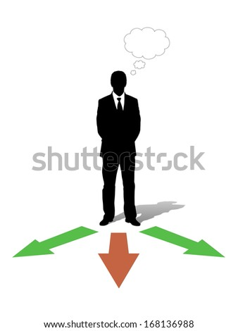 businessman standing in front of three arrows going into different directions and choosing his way, vacant text bubble above him