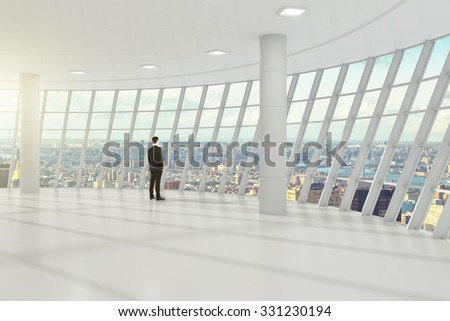 Businessman standing in the white great hall of the business center, and looks towards the city 3D Render - stock photo
