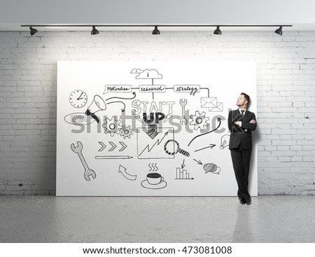 Businessman standing in white brick room with startup sketch on whiteboard. Business concept