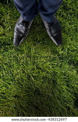 Businessman standing isolated on white background against grass background