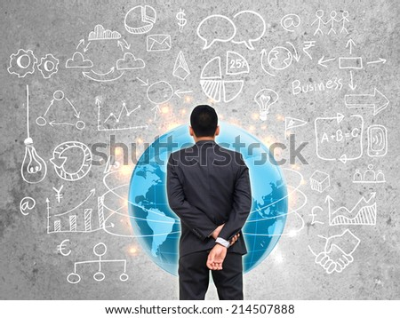 businessman standing of watching business strategy. - stock photo