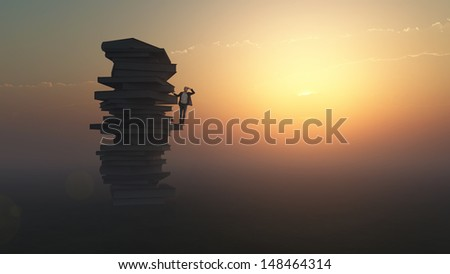 businessman standing on a stack of books - stock photo