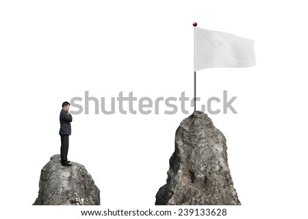 Businessman standing on peak with blank flag and white background - stock photo