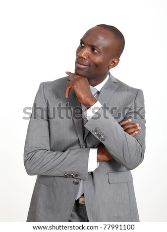 Businessman standing on white background