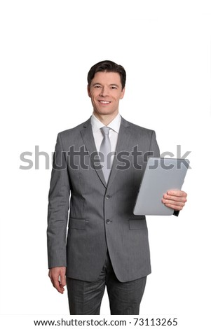 Businessman standing on white background with electronic tablet