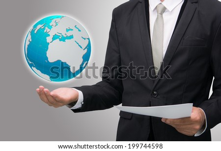 Businessman standing posture hand holding Earth icon isolated on gray background