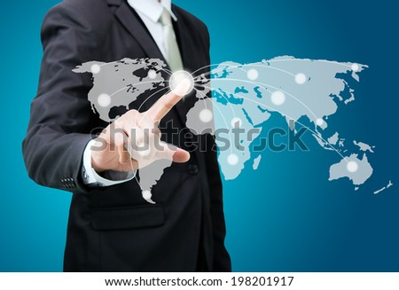 Businessman standing posture hand touch Earth icon isolated on over blue background