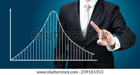 Businessman standing posture hand touch graph finance isolated on dark background