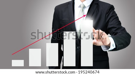 Businessman standing posture hand touch graph finance isolated on gray background