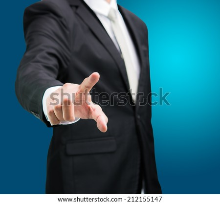 Businessman standing posture show hand isolated on over blue background