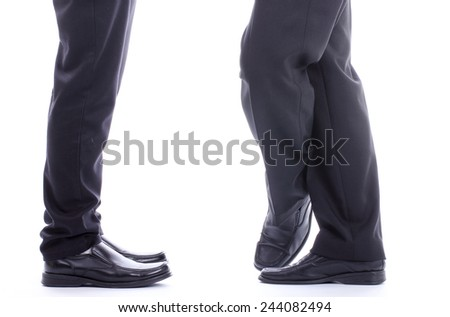 Businessman standing ,someone make different for relax