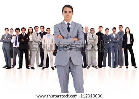 Businessman standing up against a white background - stock photo