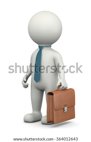 Businessman, Standing White Character with Briefcase Wearing a Tie 3D Illustration on White Background