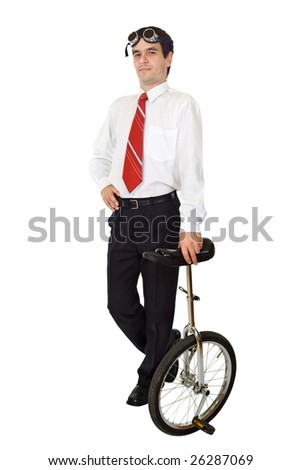 Businessman standing with a mono cycle - isolated - stock photo