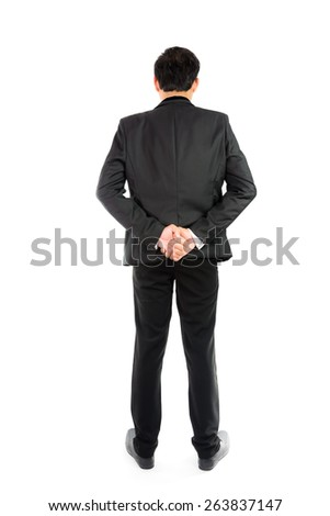 Businessman standing with back isolate on over white background