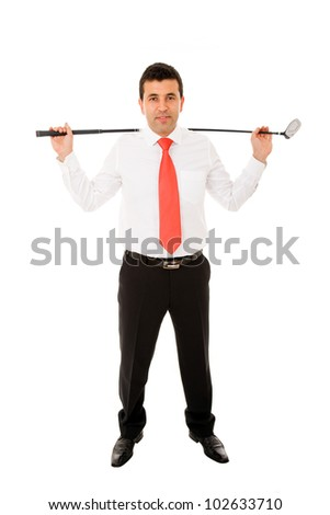 Businessman standing with golf club, isolated on white