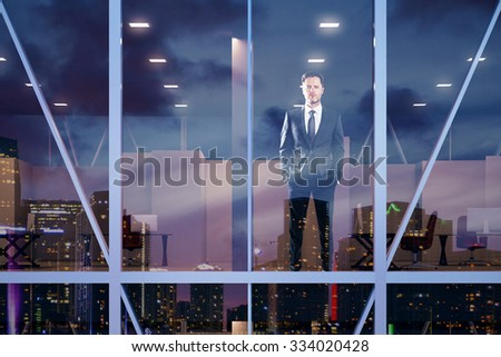 Businessman staying in modern office in vitreous business center 3D Render - stock photo