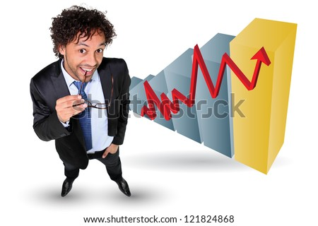 Businessman stood by graph