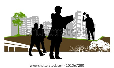 businessman stopped to check the contract - stock photo