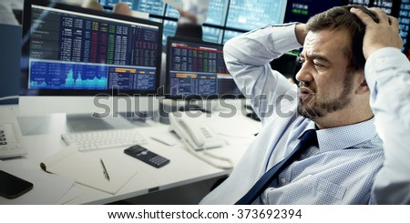 Businessman Stress Recession Financial Crisis Concept - stock photo