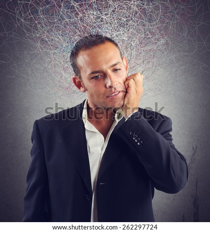 Businessman stressed and confused about which investment do - stock photo
