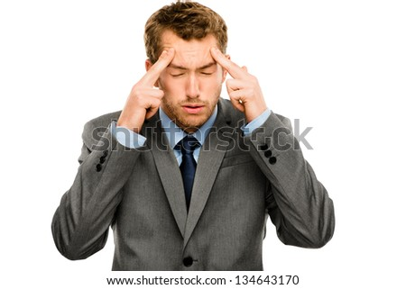 Businessman stressed pressure headache worry isolated on white background - stock photo