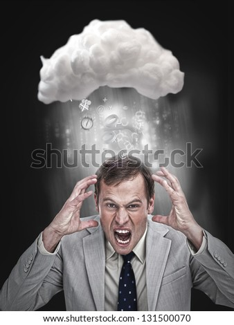 Businessman stressing out under a cloud for cloud computing with application icons - stock photo