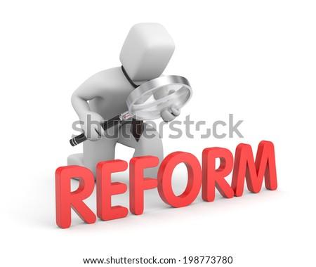 Businessman studies reform - stock photo