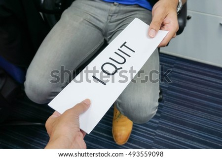 businessman submit a resignation letter to boss
