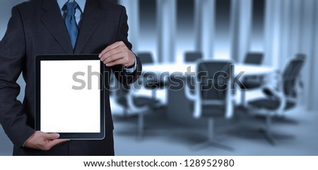 businessman success working with blank tablet computer his board room background - stock photo