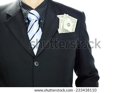 Businessman successfully with earned money in suit pocket, Isolated on white background and Copy Space. - stock photo