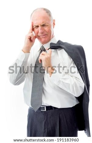 Businessman suffering from headache - stock photo